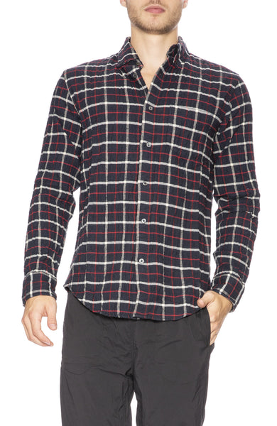 Relwen Seersucker Flannel Shirt in Navy / Red Tattersol