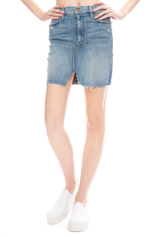 Mother Sacred Slit Mini Denim Skirt in Where There's Smoke