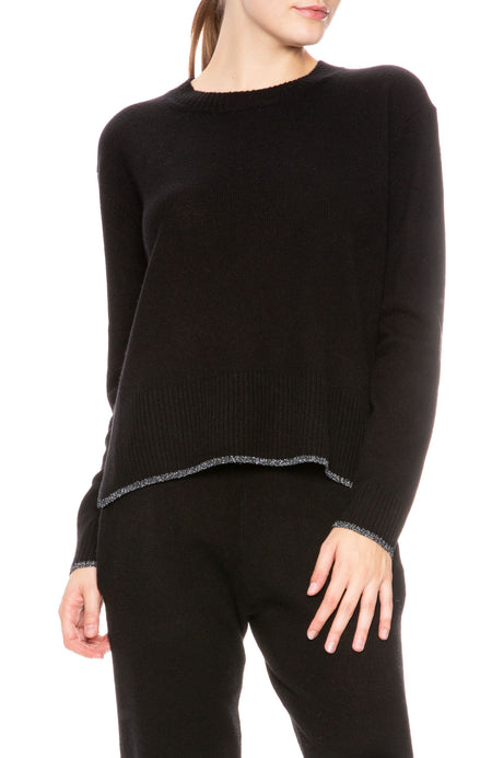 Charlee Cashmere Sweater with Metallic Trim