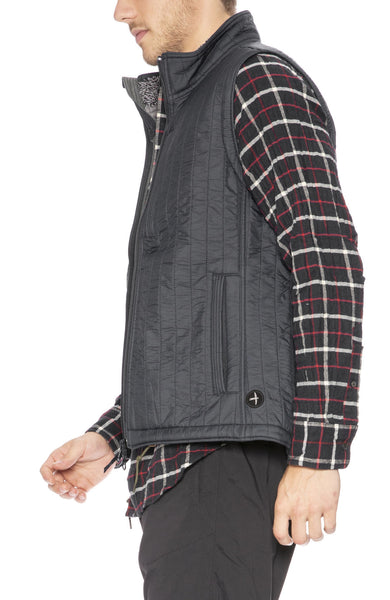 Relwen Windproof Quilted Nylon Vest in Smoke Grey