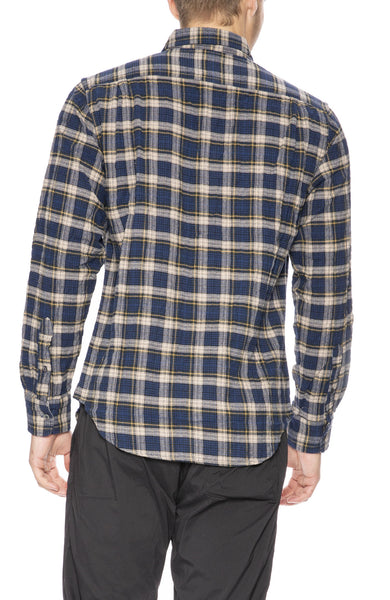 Relwen Seersucker Flannel Shirt in Navy / Khaki Tartan