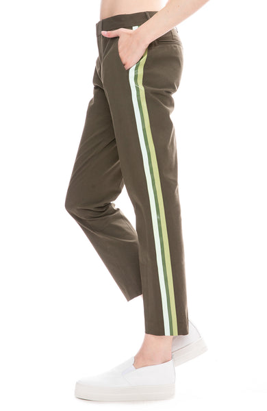 Le Superbe St. Honore Pants Side Stripe Pants in Army Green