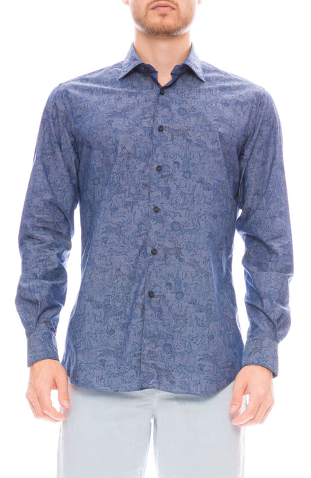 Exclusive Safari Print Chambray Shirt