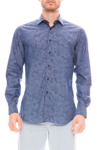 Ron Herman Exclusive Safari Print Chambray Shirt in Blue