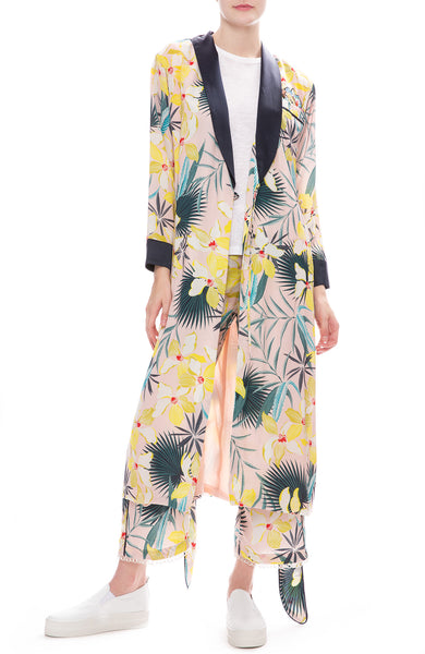 Le Superbe Destination Unknown Hawaiian Print Pants with Desmond Robe Dress