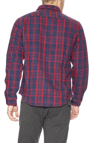 Relwen Double Blanket Shirt in Navy / Red Plaid