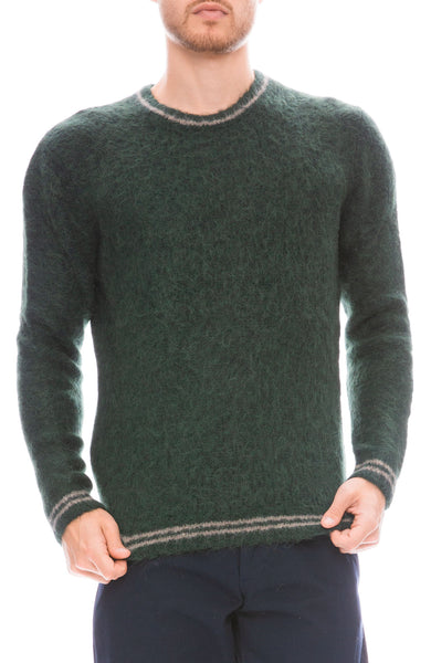 Propaganda Agency Fuzzy Crew Neck Sweater in Forest Green