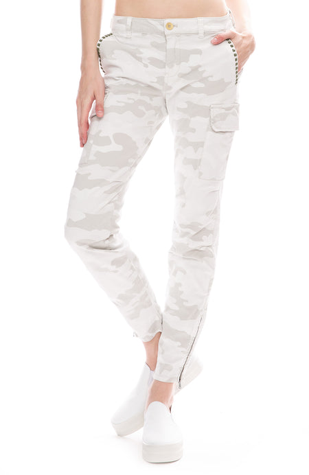 Camouflage Cargo Pants with Studs