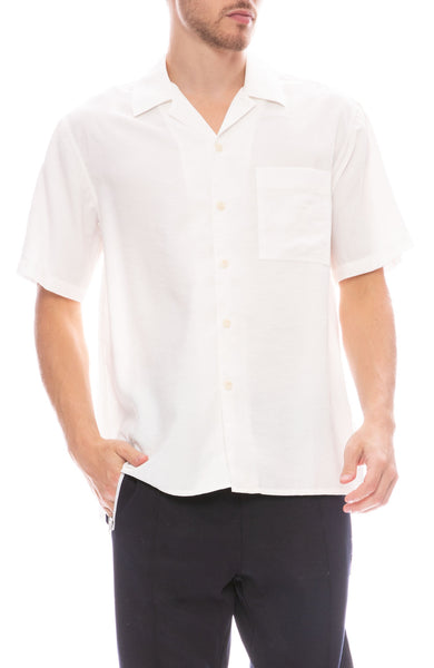 Ami Button Down Camp Shirt in Ecru
