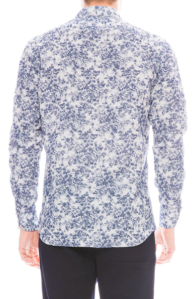 Exclusive Ron Herman Mens Floral Printed Corduroy Shirt in Blue and White