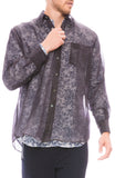 Our Legacy Mens Less Borrowed Sheer Shirt in Grey Front View
