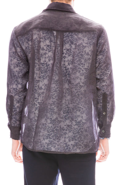 Our Legacy Mens Less Borrowed Sheer Shirt in Grey
