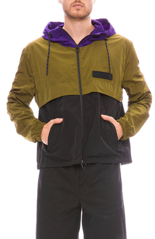 Ami Mens Tricolor Contrast Zip Jacket Front View