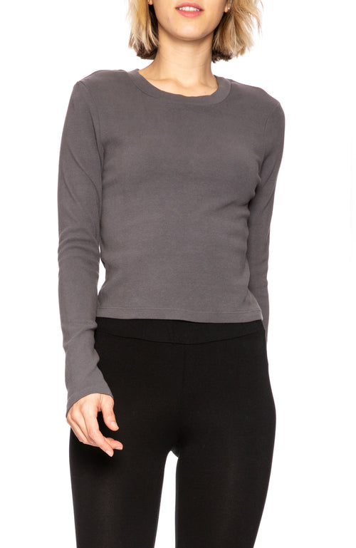 Stateside Long Sleeve Cropped Rib T-Shirt in Charcoal at Ron Herman