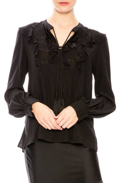 A.L.C. Silk Ruffle Blouse at Ron Herman