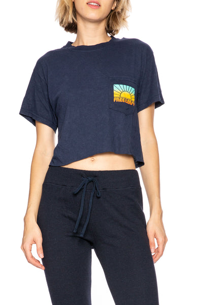 Free & East Rays Cropped Pocket Tee in Navy