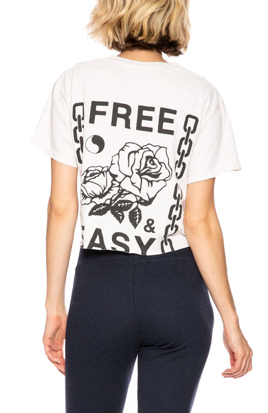 Free & Easy Womens Chains & Roses Cropped Tee