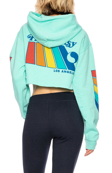 Free & Easy Natural Rainbow Cropped Hoodie in Mint