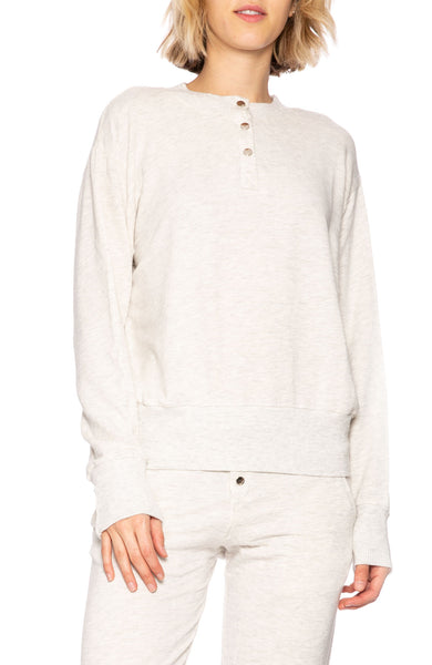Monrow Snap Button Sweatshirt in Ash