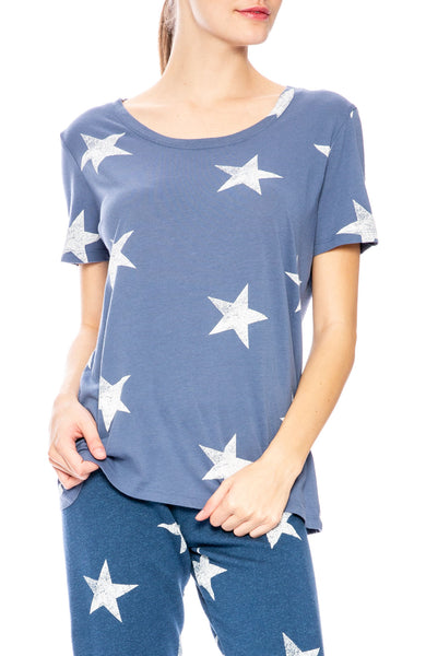 Monrow Oversize Star T-Shirt in Jean Blue at Ron Herman