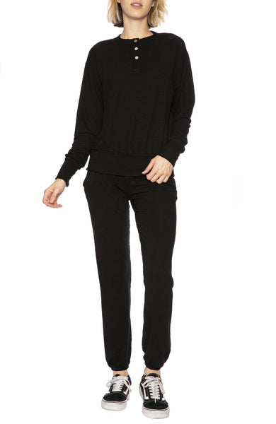 Monrow Snap Button Sweatshirt in Black