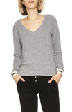 Monrow Stripe Cuff V-Neck Sweatshirt in Heather Grey