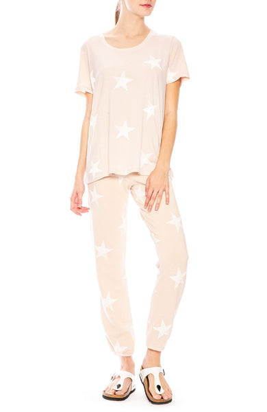 Monrow Oversize Star T-Shirt in Dusty Pink at Ron Herman