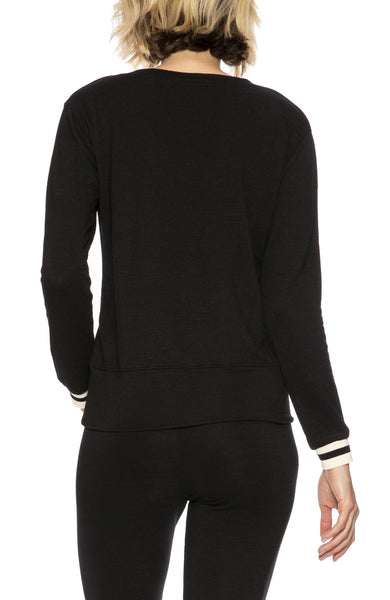 Monrow Stripe Cuff V-Neck Sweatshirt in Black