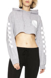 Free & Easy Womens Checkered Yin Yang Cropped Hoodie in Heather Grey