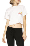 Free & Easy Sun Kissed Cropped Pocket Tee in Dirty White