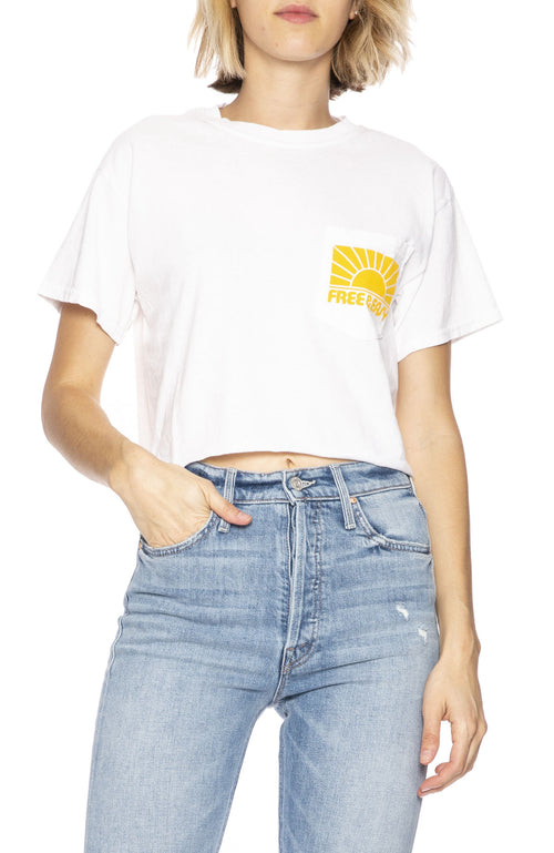 Free & Easy Womens Rays Cropped Pocket Tee in White
