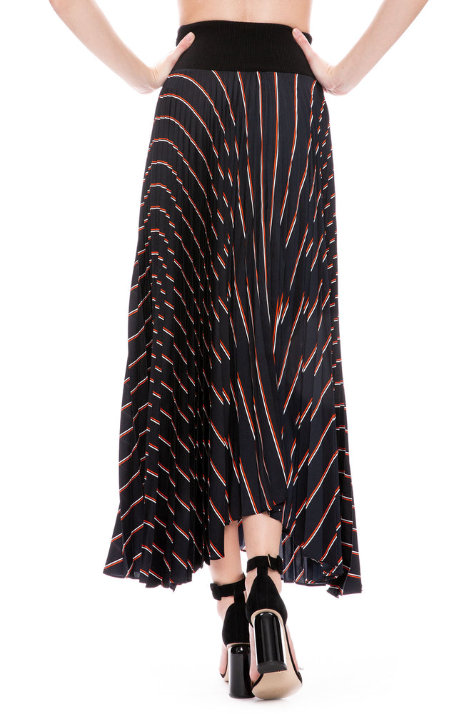 A.L.C. Henry Pleated Striped Midi Skirt at Ron Herman