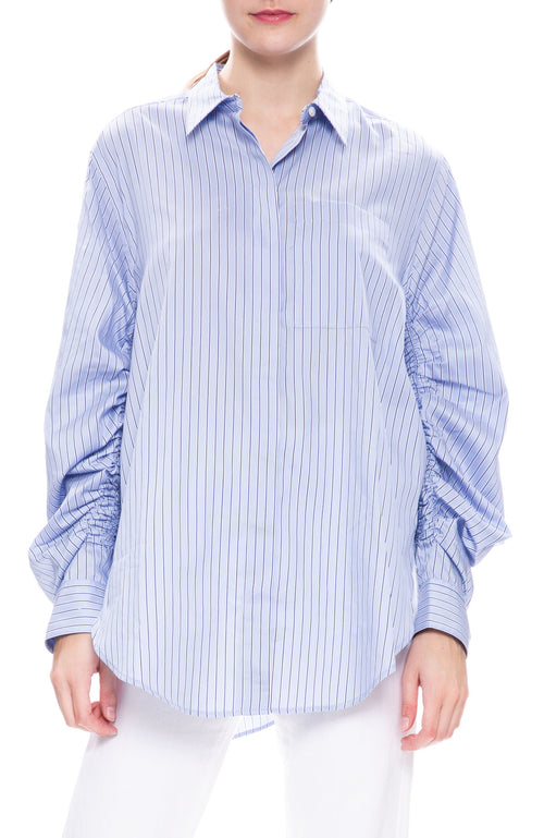3.1 Phillip Lim Gathered Sleeve Stripe Shirt at Ron Herman