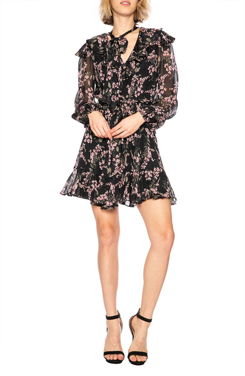 Zimmermann Fleeting Flounce Dress in Black Wisteria Floral