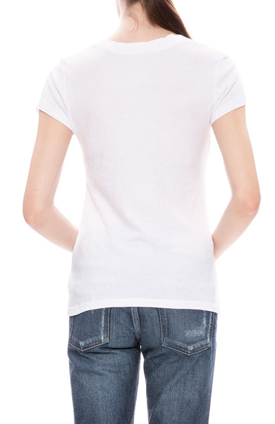 L'Agence V-Neck T-Shirt in White at Ron Herman