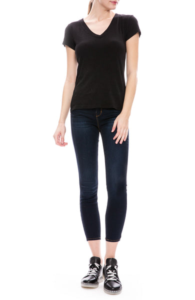 L'Agence V-Neck T-Shirt in Black at Ron Herman