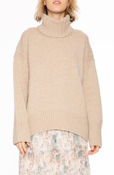 Tomorrowland Womens Turtle Neck Sweater in Sand at Ron Herman