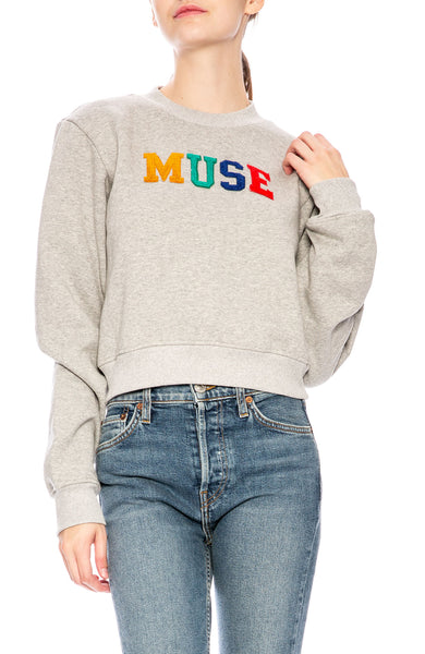 Kendall + Kylie  Muse Rainbow Crop Sweatshirt in Grey at Ron Herman