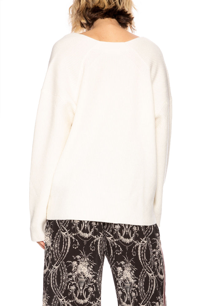 Tomorrowland Womens V-Neck Pullover Sweater in White at Ron Herman