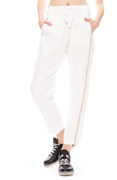 Xirena Rex Twill Side Stripe Pants in White Cloud at Ron Herman