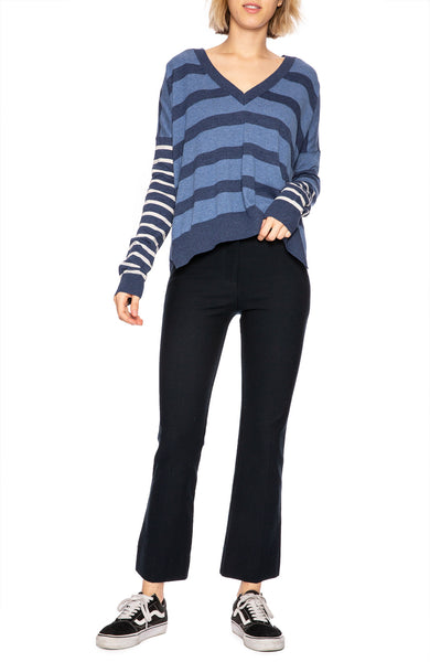 Derek Lam 10 Crosby Indigo Striped V-Neck Sweater
