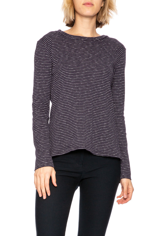 Derek Lam 10 Crosby Striped Split Back Long Sleeve Tee