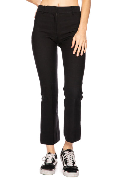 Derek Lam 10 Crosby Cropped Flare Trouser Pant in Black