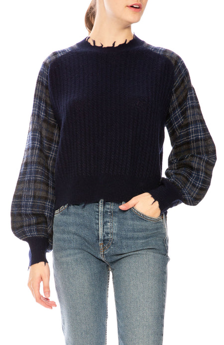 Plaid Sleeve Pullover