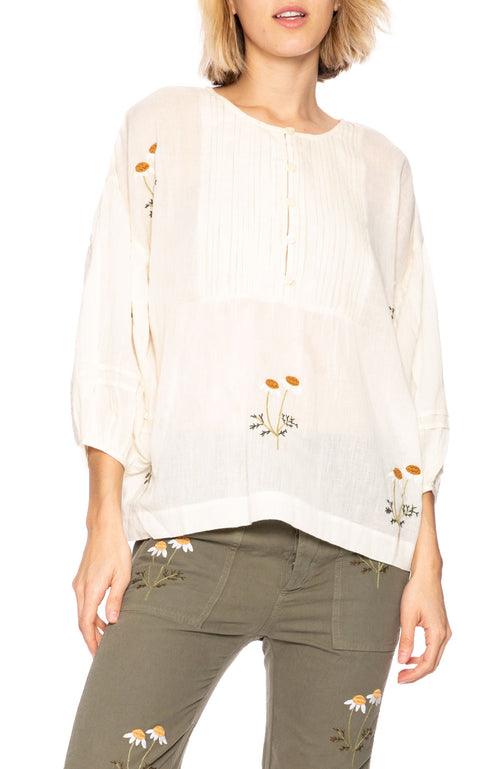 The Great Daisy Embroidered Tunic in Cream at Ron Herman