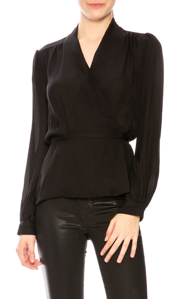 L'Agence Cara Wrap Blouse in Black at Ron Herman