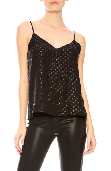 L'Agence Jane Metallic Dot Cami in Black with Black Dots at Ron Herman