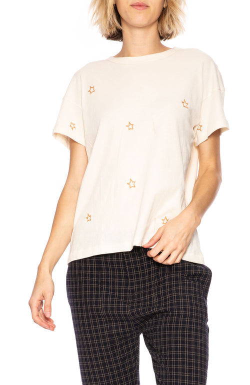 The Great Star Embroidered Tee in Washed White at Ron Herman