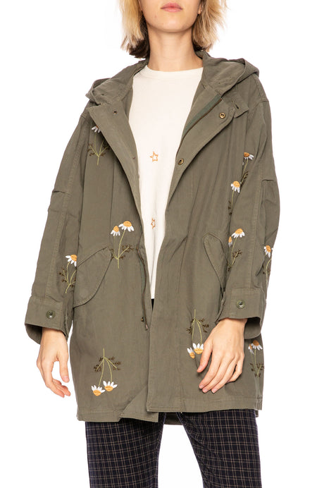 Daisy Embroidered Parka