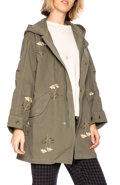The Great Daisy Embroidered Parka in Army Green at Ron Herman